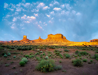 Monument Valley as seen from Hwy 163 with moon. Arizona