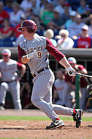 Florida State Seminoles Stephen McGee #9 during a scrimmage vs the Philadelphia Phillies  at Bright House Field in Clearwater, Florida;  February 24, 2011.  Philadelphia defeated Florida State 8-0.  Photo By Mike Janes/Four Seam Images