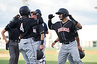 Jupiter Hammerheads Jan Mercado (right) celebrates with Federico Polanco (4) after hitting a grand slam during a game against the Lakeland Flying Tigers on July 30, 2021 at Joker Marchant Stadium in Lakeland, Florida.  (Mike Janes/Four Seam Images)