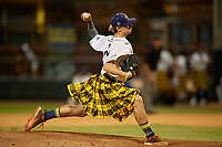 Savannah Bananas pitcher Holton McGaha (32) during a Coastal Plain League game against the Macon Bacon on July 15, 2020 at Grayson Stadium in Savannah, Georgia.  Savannah wore kilts for their St. Patrick's Day in July promotion.  (Mike Janes/Four Seam Images)