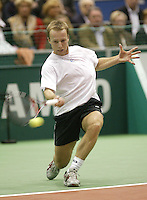 24-2-06, Netherlands, tennis, Rotterdam, ABNAMROWTT,  Christophe Rochus in action against Arvind Parmar