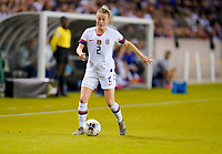 HOUSTON, TX - FEBRUARY 03: Emily Sonnett #2 of the United States moves with the ball during a game between Costa Rica and USWNT at BBVA Stadium on February 03, 2020 in Houston, Texas.