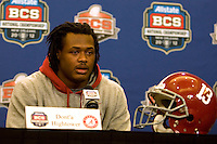 Alabama linebacker Dont'a Hightower talks with the reporters during BCS Championship Alabama Defensive Press Conference at Marriott Hotel at the Convention Center in New Orleans, Louisiana on January 7th, 2012.