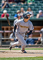23 June 2019: Trenton Thunder second baseman Hoy Jun Park leads the game off with a single against the New Hampshire Fisher Cats at Northeast Delta Dental Stadium in Manchester, NH. The Thunder defeated the Fisher Cats 5-2 in Eastern League play. Mandatory Credit: Ed Wolfstein Photo *** RAW (NEF) Image File Available ***