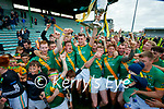 Flor McCarthy, Kilmoyley captain celebrates with his teammates after winning the County Senior hurling Final between Kilmoyley and Saint Brendan's at Austin Stack park on Sunday.