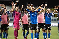 SAN JOSE, CA - AUGUST 17: San Jose Earthquakes players applaud the fans after a game between San Jose Earthquakes and Minnesota United FC at PayPal Park on August 17, 2021 in San Jose, California.
