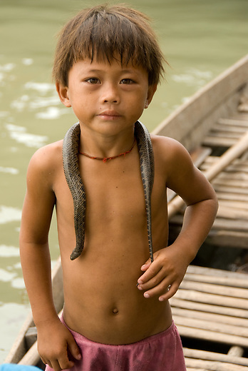 Young child rafts with a snake on neck which will most likely become his next meal. It is not unusual to see bugs, crickets, cockroaches being sold at the floating village and on the side of the road in Cambodia.