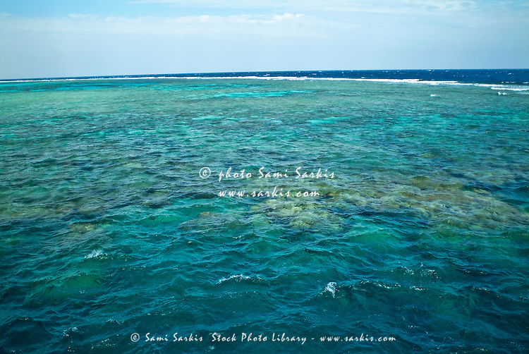 Coral reef visible beneath crystal clear waters, Soraya Reef, Gotta Sataya, Red Sea, Egypt.