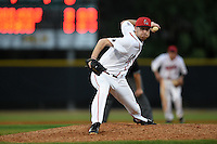 Ball State Cardinals pitcher Devin Wilburn (43) during a game against the Maine Black Bears on March 3, 2015 at North Charlotte Regional Park in Port Charlotte, Florida.  Ball State defeated Maine 8-7.  (Mike Janes/Four Seam Images)