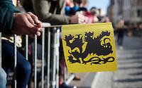 the RVV symbol: the flemish lion flag<br /> <br /> 99th Ronde van Vlaanderen 2015