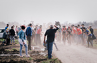 breakaway group emerging from a cloud of dust<br /> <br /> 116th Paris-Roubaix (1.UWT)<br /> 1 Day Race. Compiègne - Roubaix (257km)