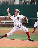 Zach Neal of the Oklahoma Sooners playing in Game Two of the NCAA Super Regional tournament against the Virginia Cavaliers at Charlottesville, VA - 06/13/2010. Oklahoma defeated Virginia, 10-7, to tie the series after two games.  Photo By Bill Mitchell / Four Seam Images