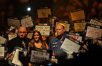 03.01.2015.  London, England.  William Hill PDC World Darts Championship.  Semi Final Round.  Raymond van Barneveld (14) [NED] makes his way to the stage before his match against Phil Taylor (2) [ENG].