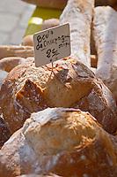 On a street market. Bread. On Les Quais. Bordeaux city, Aquitaine, Gironde, France
