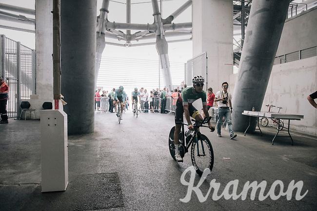 Italian road champion Fabio Arru (ITA/Astana) entering the Orange Vélodrome for the start of his recon although his not the national TT champion...<br /> <br /> 104th Tour de France 2017<br /> Stage 20 (ITT) - Marseille › Marseille (23km)