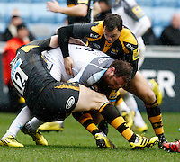 Photo: Richard Lane/Richard Lane Photography. Wasps v Newcastle Falcons. Aviva Premiership. 06/02/2016. Wasps' James Downey and Rob Miller tackle Falcons' Andy Goode.