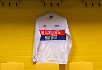 "BREDA, NETHERLANDS - NOVEMBER 27: USWNT anthem jackets printed with the slogan ""black lives matter"" hang in the locker room before a game between Netherlands and USWNT at Rat Verlegh Stadion on November 27, 2020 in Breda, Netherlands."