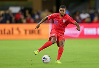 WASHINGTON, D.C. - OCTOBER 11: Reggie Cannon #20 of the United States turns with the ball during their Nations League game versus Cuba at Audi Field, on October 11, 2019 in Washington D.C.