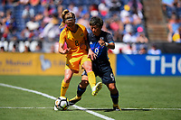 San Diego, CA - Sunday July 30, 2017: Elsie Kellond-Knight, Kumi Yokoyama during a 2017 Tournament of Nations match between the women's national teams of the Australia (AUS) and Japan (JAP) at Qualcomm Stadium.