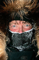 Tuesday March 6, 2007  Sonny Lindner, like most other mushers, arrives at the Nikolai checkpoint on Tueday bundled up and frosted.