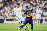 Marco Asensio Willemsen (l) of Real Madrid battles for the ball with Javier Alejandro Mascherano of FC Barcelona  during their Supercopa de Espana Final 2nd Leg match between Real Madrid and FC Barcelona at the Estadio Santiago Bernabeu on 16 August 2017 in Madrid, Spain. Photo by Diego Gonzalez Souto / Power Sport Images