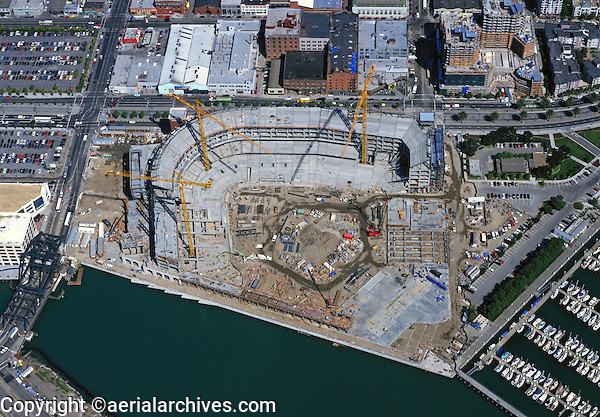 aerial photograph AT&T Giant's baseball stadium park under construction in San Francisco