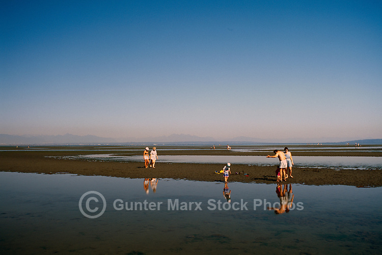 Summer Recreational Activities along Pacific Ocean, Boundary Bay Regional Park, Delta, BC, British Columbia, Canada - People walking on Sandy Beach