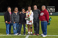 STANFORD, CA - October 21, 2012: Mariah Nogueira  and her family during the Senior Day celebration after the Stanford vs Washington women's soccer match in Stanford, California.  Stanford won 3-0.