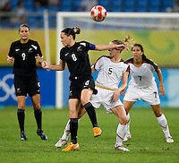 Hayley Moorwood, Lindsay Tarpley. The USWNT defeated New Zealand, 4-0, during the 2008 Beijing Olympics in Shenyang, China.  With the win, the USWNT won group G and advanced to the semifinals.