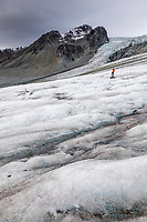 Hikers travel along the Gulkana Glacier in the Alaska Range mountians, Interior, Alaska.