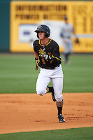 Bradenton Marauders shortstop Kevin Newman (5) during a game against the Lakeland Flying Tigers on April 16, 2016 at McKechnie Field in Bradenton, Florida.  Lakeland defeated Bradenton 7-4.  (Mike Janes/Four Seam Images)