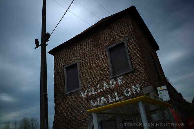 Graffiti is seen on a wall of a village house in Remersdaal, Belgium on April 26, 2013.