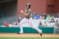 Arkansas Travelers third baseman Seth Mejias-Brean (28) runs the bases during a game against the Frisco RoughRiders on May 28, 2017 at Dickey-Stephens Park in Little Rock, Arkansas.  Arkansas defeated Frisco 17-3.  (Mike Janes/Four Seam Images)