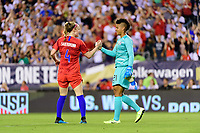 PHILADELPHIA, PA - AUGUST 29: Becky Sauerbrunn #4 celebrates with Adrianna Franch #21 during a game between Portugal and USWNT at Lincoln Financial Field on August 29, 2019 in Philadelphia, PA.