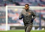 18.3.2021 Rangers v Slavia Prague: Happy Chappie Alfredo Morelos runs out