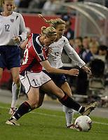 Unni Lehn, left, Kristine Lilly, right, USA vs. Norway, in Boston, Ma, 2003 WWC.