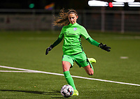 goalkeeper Josephine Delvaux (1) of KRC Genk pictured during a female soccer game between  Racing Genk Ladies and RSC Anderlecht on the 16 th matchday of the 2020 - 2021 season of Belgian Scooore Womens Super League , friday 12 th of March 2021  in Genk , Belgium . PHOTO SPORTPIX.BE   SPP   SEVIL OKTEM