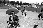 Sombrero Mexico 1970s. Mexican cowboy known as Charros  at a village rodeo  1973