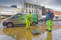 2020 12 03 BID Swansea Gum Blitzer cleaners in Oxford Street, Swansea, Wales, UK.