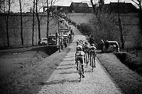 the leading breakaway riding up the Haaghoek<br /> <br /> 71st Omloop Het Nieuwsblad 2016
