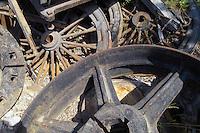 A pile of abandoned wheels at Kennicott Mine.