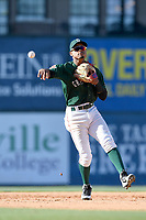 Second baseman Kervin Suarez (36) of the Greenville Drive plays defense in a game against the Charleston RiverDogs on Sunday, April 29, 2018, at Fluor Field at the West End in Greenville, South Carolina. Greenville won, 2-0. (Tom Priddy/Four Seam Images)