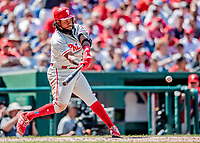 23 August 2018: Philadelphia Phillies infielder Maikel Franco in action against the Washington Nationals at Nationals Park in Washington, DC. The Phillies shut out the Nationals 2-0 to take the 3rd game of their 3-game mid-week divisional series. Mandatory Credit: Ed Wolfstein Photo *** RAW (NEF) Image File Available ***