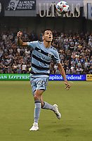 KANSAS CITY, KS - JULY 31: Daniel Salloi #20 of Sporting Kansas City tries to control the ball in midfield during a game between FC Dallas and Sporting Kansas City at Children's Mercy Park on July 31, 2021 in Kansas City, Kansas.