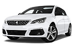 Stock pictures of low aggressive front three quarter view of a 2018 Peugeot 308 GT Line 5 Door Hatchback