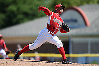 Batavia Muckdogs pitcher Jacob Smigelski (34) delivers a pitch during a game against the Lowell Spinners on July 17, 2014 at Dwyer Stadium in Batavia, New York.  Batavia defeated Lowell 4-3.  (Mike Janes/Four Seam Images)