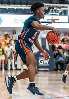 WASHINGTON, DC - NOVEMBER 16: Sherwyn Devonish #5 of Morgan State on the attack during a game between Morgan State University and George Washington University at The Smith Center on November 16, 2019 in Washington, DC.