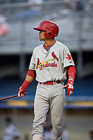 Johnson City Cardinals catcher Benito Santiago (31) at bat during the second game of a doubleheader against the Princeton Rays on August 17, 2018 at Hunnicutt Field in Princeton, Virginia.  Princeton defeated Johnson City 12-1.  (Mike Janes/Four Seam Images)
