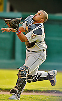 19 July 2012: Tri-City ValleyCats catcher Jobduan Morales in action against the Vermont Lake Monsters at Centennial Field in Burlington, Vermont. The ValleyCats defeated the Lake Monsters 6-3 in NY Penn League action. Mandatory Credit: Ed Wolfstein Photo