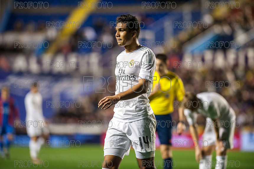 VALENCIA, SPAIN - MARCH 2: Casemiro during BBVA League match between VLevante U.D. and R. Madrid at Ciudad de Valencia Stadium on March 2, 2015 in Valencia, Spain